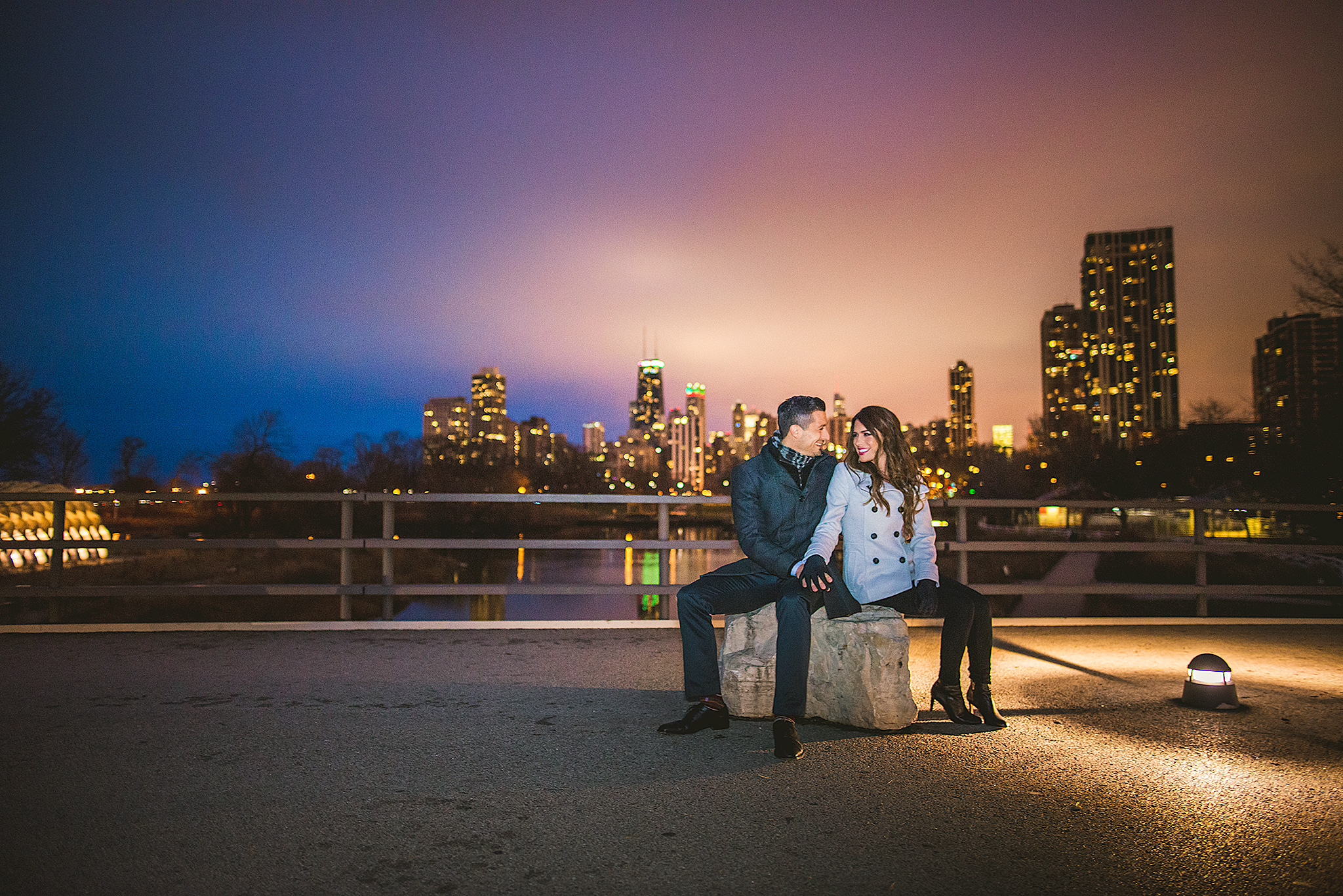 Lincoln-Park-Night-Skyline-Engagement-Photo