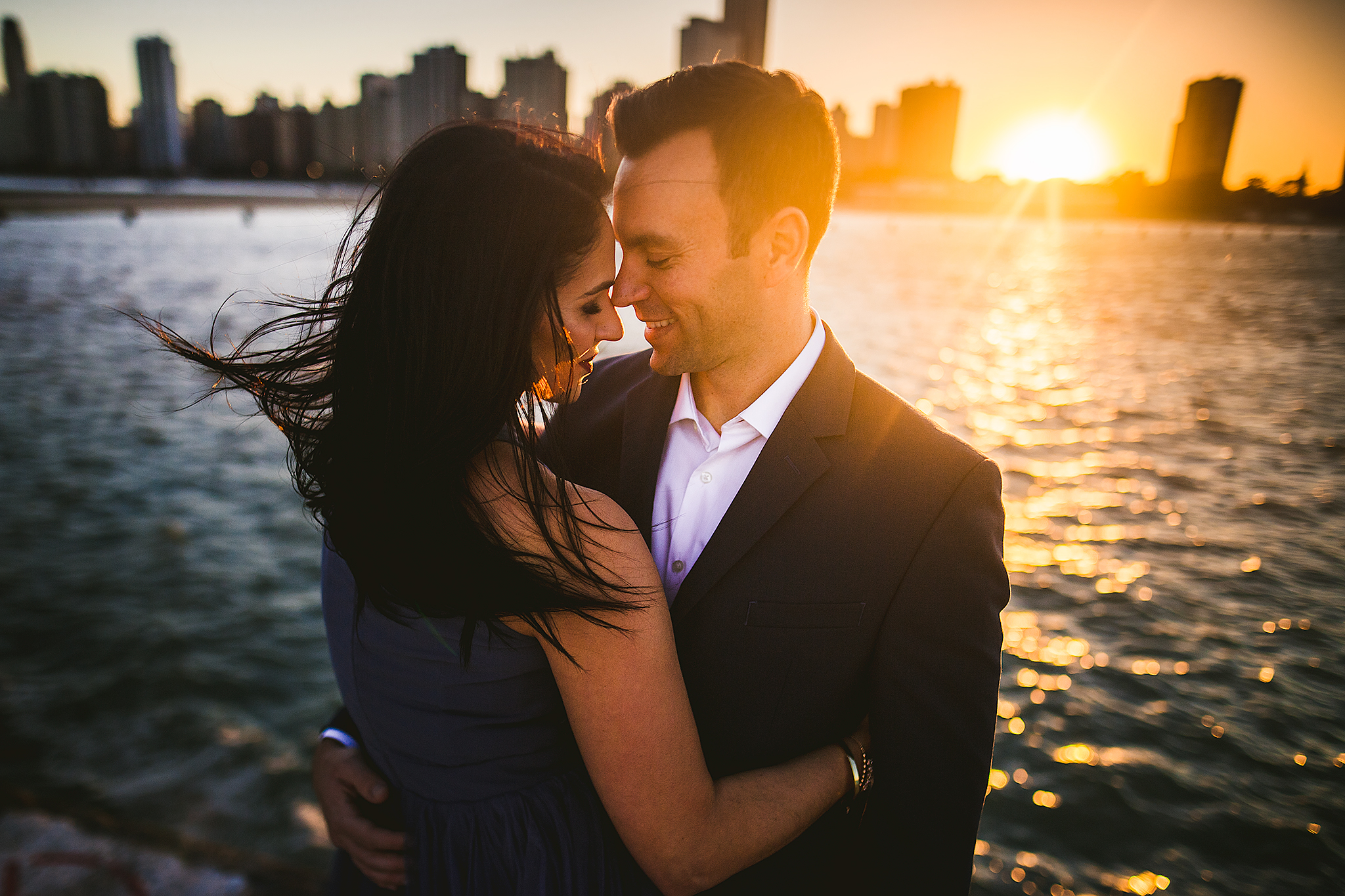 sunset-intimate-chicago-engagement